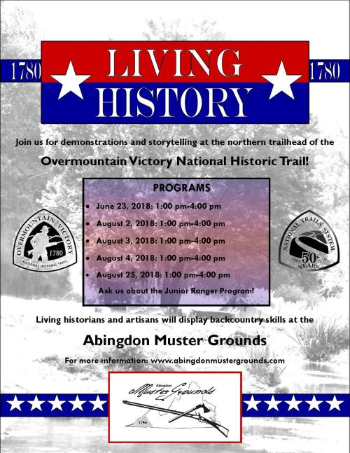 living history at the abingdon muster grounds living history flyer 2018 - Flyer Muster